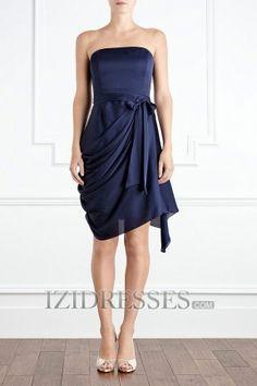 Sheath/Column Strapless Chiffon Bridesmaids Dresses