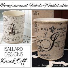 Ballard Inspired Monogrammed Waste Basket