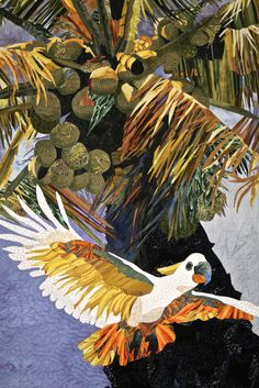 Cockatoo in Paradise, by Jeanne Moore, Escondido, California.  2015 Houston International Quilt Festival.  Photo by Pam Holland.