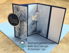 Feels Like Frost Fun Fold | Fancy Fold Cards, Folded Cards, Mary Fish, Stampin Pretty, Peace On Earth, Winter Cards, Pretty Cards, Winter Theme, Wow Products