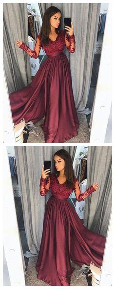 Burgundy lace long prom dress, long sleeve prom dress P1090 #promdresses #2018promdresses #lacepromdresses #burgundypromdresses #2018newstyles #fashions #2018styles #hiprom