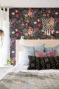 Bedroom -- Could do statement wall-paper on large canvasses and hang if you don't want to commit to pasting it on the walls.