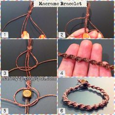 How to Make a Macrame Bracelet using square knots to make a spiral bracelet