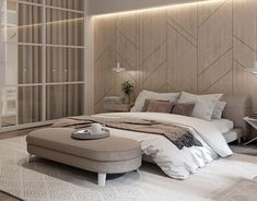 Interior design of 2 floor apartments locates in Kyiv, made in minimalistic style with loft elements using natural materials Neutral Bedroom Decor, Contemporary Bedroom Decor, Room Design Bedroom, Bedroom Sets, Modern Bedroom, Woman Bedroom, Ladies Bedroom, Luxury Homes Interior, Interior Design