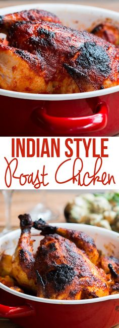 Skip the potatoes to make this low carb. This Indian Style Whole Masala Roast Chicken is a spicy, juicy roast chicken recipe, and makes for a great main dish at holiday tables! Roast Chicken Recipes, Roasted Chicken, Chicken Recepies, Garam Masala, Chana Masala, Indian Style, Chicken Tikka Masala Rezept, Chicken Masala, Roast Chicken Curry