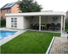 Poolhouse XL Barcelona 416x326 cm + luifel 652 cm - geïmpregneerd | Blokhutvillage