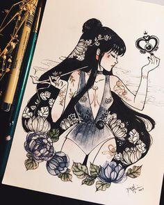 Sailor Moon Fan Art by PeiTheDragon x / x / x / x x / x / x / x Sailor Moons, Sailor Moon Fan Art, Sailor Pluto, Sailor Moon Tattoos, Kunst Inspo, Art Inspo, Fantasy Kunst, Fantasy Art, Pretty Art