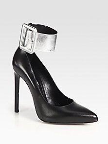 Saint Laurent - Paris Metallic Leather Ankle Strap Pumps