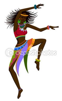 Mujer africana bailando danza ritual — Vector de stock #89558992