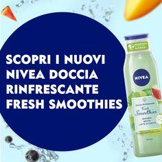 La loro formula biodegradabile rispetta anche l'ambiente! Un mix di frutta e latte vegetale realizzato per il 90% con ingredienti di origine naturale che rende il tuo corpo fresco e vellutato! Smoothies, Your Skin, Fresh, Skin Care, Ads, Shower, Body Art, Nailart, Layers