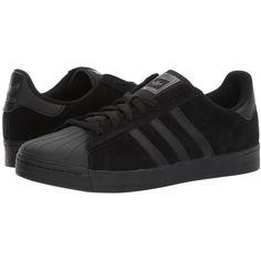adidas Skateboarding Superstar Vulc (Core Black/Core Black/Core Black)... ($80) ❤ liked on Polyvore featuring shoes, athletic shoes, black athletic shoes, black shoes, traction shoes, skate shoes and adidas footwear