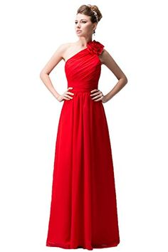 Snowskite Women's One Shoulder Long Chiffon Evening Formal Bridesmaid Dress