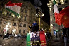 """24 gennaio 2014 Corteo pro-marò per il centro di Milano """"Liberateli"""", protesta contro festa indiana"""