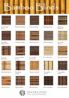 3 Day Blinds has an extensive assortment of Bamboo Blind blends.