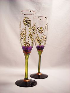 Flutes Hand Painted Toasting Glasses, Painted Amethyst Purple and Green Glassware