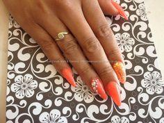 Nail Art Photo Taken at:22/05/2013 15:50:26 Nail Art Photo Uploaded at:25/05/2013 20:40:48 Nail Technician:Nicola Senior Description: Stiletto nails with orange gel polish, glitter and Swarovski crystals @ www.eyecandynails.co.uk