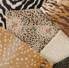 No other carpet company is so associated with animal patterns as Stark. Clockwise from top left: Zebra Cut Pile in Black/White, Siberian in Gold, Bobcat in Beach, Mini Leopard in Black, Antelope Ax, and Leopard Rose Petite.
