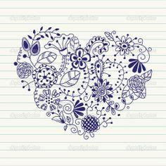 coeur floral. coeur de coeur flowers.doodle — Illustration #8567547