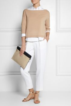 Valentino | Cashmere sweater | Victoria Beckham Denim | Cotton-blend shirt | Adam Lippes | Crepe straight-leg pants | Gianvito Rossi | Metallic leather sandals | Victoria Beckham | Two-tone leather clutch |