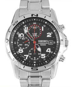 Montre Seiko SND375P1 chronographe avec bracelet et boîtier en acier, fonction alarme et date.