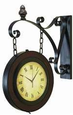 "22"" Double Sided Railway Wood Clock"