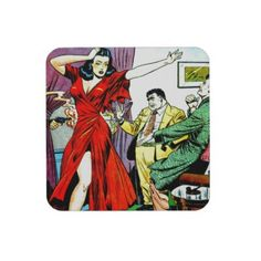 Award Winner - Beautiful Girl and Wise Guys Comic Drink Coaster - Vintage Comic art available on over 70 different gift ideas including t-shirts, cards, fridge magnets, pins and buttons, stickers, water bottles, mugs, hats, aprons, neckties and many more neat-o gifts.