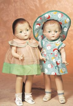 254: TWO COMPOSITION PATSY-TYPE DOLLS IN ORIGINAL COSTU : Lot 254