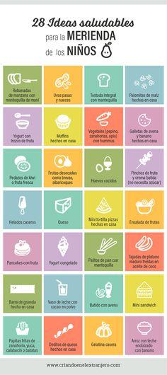 28 Ideas saludables para la merienda de los niños #desayunosaludable Healthy Toddler Meals, Toddler Lunches, Healthy Kids, Kids Meals, Food Art For Kids, Baby Led Weaning, Baby Health, Yoga For Kids, Happy Kids