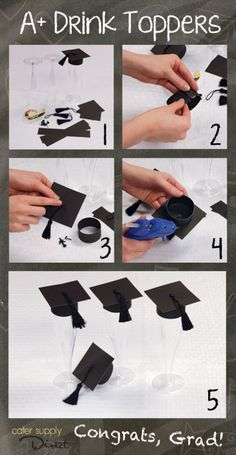 Adorable DIY Graduation Drink Toppers! An easy way to add a festive touch to your graduation celebration! #classof2014