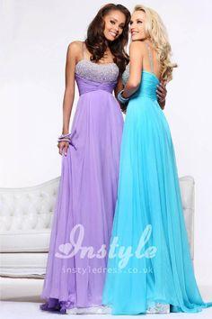lilac/aqua chiffon long prom dress with beaded spaghetti straps and beaded bodice
