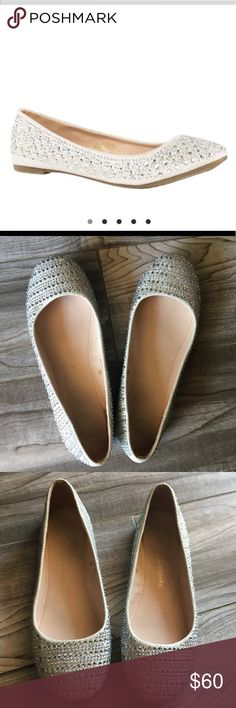 Lauren Lorraine Lizan silver/white flats Show stopping flats that dress up any outfit. Bought from Nordstrom these were for my little sisters first communion she used them just that day for a couple hours. Size 6 1/2 these flats do run small she's a 5.5 normally and had to size up. lauren lorraine Shoes Flats & Loafers