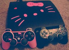 Hello Kitty decor for a playstation so cute Kitty Play, Here Kitty Kitty, Hello Kitty Games, Hello Games, Sanrio, Swagg, Girly Things, Couple Things, Elsa