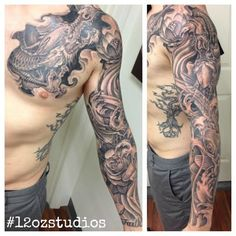 Amazing black and grey dragon Koi fish Japanese themed male chest arm sleeve tattoo by Alex