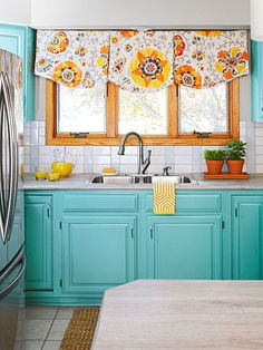 Turquoise cabinets brighten up this whole kitchen space! » It's such a darling kitchen! Kitchen, ideas, diy, house, indoor, organization, home, design, cook, shelving, backsplash, oven, desk, decorating, bar, storage, table, interior, modern, life hack.
