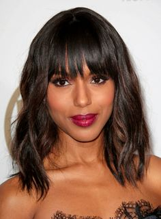 Kerry Washington's Medium, Wavy, Brunette Hairstyle with Bangs