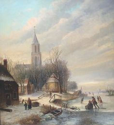 Oene Romkes de Jongh - Winterlandschap met schaatsers op een bevroren vaart