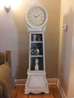 It was a yucky yellow oak finish (forgot to take a before pic. Painted Furniture, It Is Finished, Clock, Yellow, Antiques, Wall, Projects, Painting, Home Decor