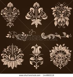 Vector Set Vintage Border Frame Baroque Filigree Engraving With Retro Ornament Pattern In Antique Style Ornate Decorative Calligraphy Design - 146127815 : Shutterstock