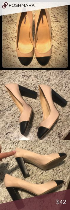 J crew size 9 block heel pumps wth color block Tan and black color block w round toe and gold trim. Square heel. Real leather. Made in Italy. Some wear and tear. See minor scuff mark shown in photo. Looks like it could b washed off maybe. Cute shoes. Nude or beige or tan color. Versatile. Heel is about 4 inches. I just want walk In heels anymore J. Crew Shoes Heels