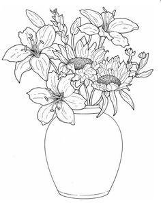 Lilies And Sunflower Free Printable Coloring Page From Dover Publications