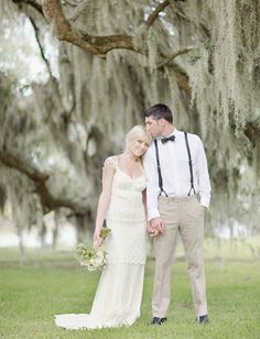 sweet Claire Pettibone dress, how gorg is that tree behind them too?