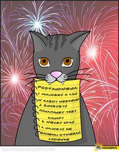 Postanowienia noworoczne kota