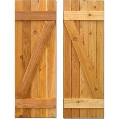 Design Craft MIllworks 15 in. x 37 in. Board-N-Batten Baton Z Shutters Pair Natural Cedar 420130