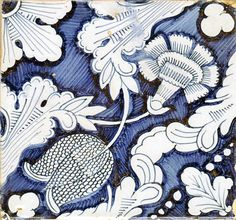 Dutch blue and white floral tile with a tulip and carnation, late 18th/early 19th century