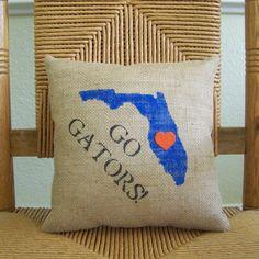 University of Florida pillow Graduation gift Gators pillow Stenciled Pillows, Burlap Pillows, Decorative Pillows, Throw Pillows, Owl Pillows, Cushions, University Dorms, University Of Florida, Diy Cushion