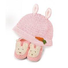 Bunny Beanie & Bootie Set - Pink
