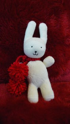 Snow Bunny made from a pair of socks. From Pinkerton Creates.