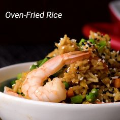 Use that oven of yours to make fried rice! Use that oven of yours to make fried rice! Shrimp And Rice Recipes, Stir Fried Rice Recipe, Stir Fry Rice, Garlic Chicken Recipes, Asian Recipes, Healthy Recipes, Ethnic Recipes, Great Recipes, Favorite Recipes