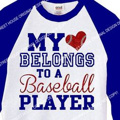 My heart belongs to a baseball player, ORIGINAL DESIGN, raglan and glitter upgrades, 3/4 Raglan Sleeve Baseball Jersey, Baseball Mom Shirt