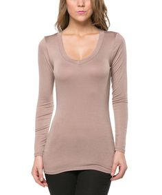 Light Brown Long-Sleeve Scoop Neck Tee by Magic Fit #zulily #zulilyfinds